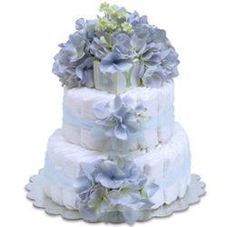 Blue Hydrangeas Diaper Cake