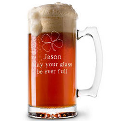 Personalized Glass Four-Leaf Clover Beer Mug