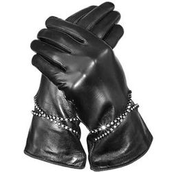 Silk Lined Italian Leather Gloves with Swarovski Crystals
