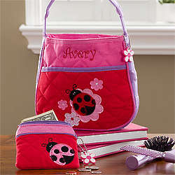 Personalized Girl's Ladybug Purse & Coin Purse Set