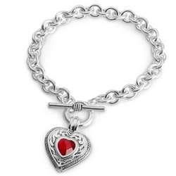 Silver Heart Birthstone Bracelet