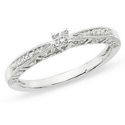 Diamond 10K White Gold Engagement Ring