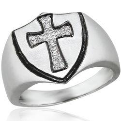 Sterling Silver Diamond Cross Ring