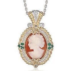 Carved Shell Cameo and Emerald Pendant Necklace