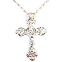 Sterling Silver Crucifix with Trinity Pattern on a 20 Inch Chain