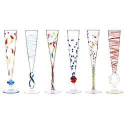 Rossini Colorful Blown Glass Champagne Flutes