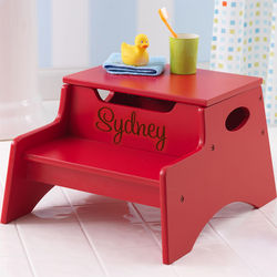 Kid's Step and Store Red Step Stool