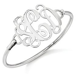 Sterling Silver Script Monogram Bangle