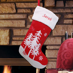 Red and White Embroidered Christmas Tree Stocking