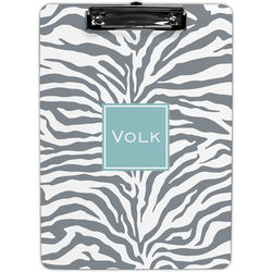 Personalized Gray Zebra Print Clipboard