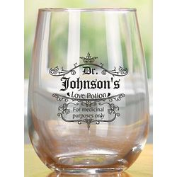 Personalized Love Potion Stemless Wine Glasses