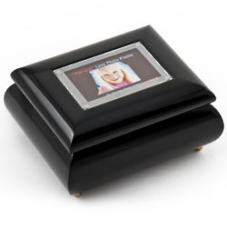 Wallet Size Black Lacquer Photo Frame Music Box