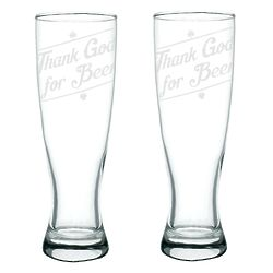 2 Thank God for Beer Pilsner Glasses