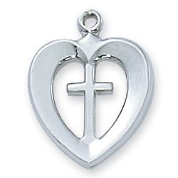 Sterling Silver Heart and Cross Pendant Necklace