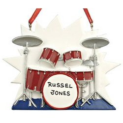 Personalized Drums Christmas Ornament