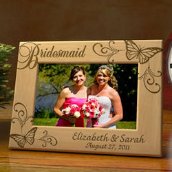 Personalized Butterfly Bridal Party Wooden Picture Frame