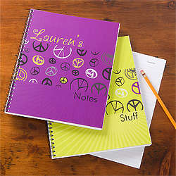 Peace Sign Personalized School Notebooks