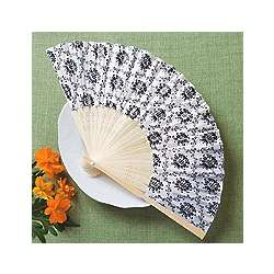 Black and White Damask Fan