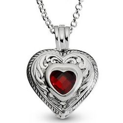 Engravable Heart Pendant Birthstone Necklace