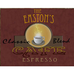 Personalized Cafe Espresso Canvas Wall Art