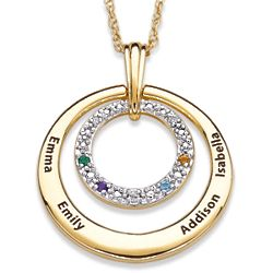 Two-Tone Family Name and Birthstone Circle Necklace with Diamond