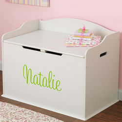 Personalized White Wooden Toy Box