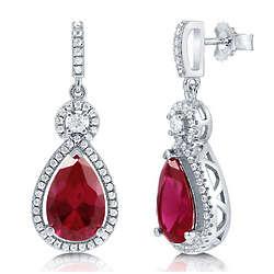 Pear Cut Ruby Cubic Zirconia Sterling Silver Halo Dangle Earrings