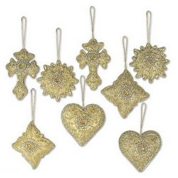 Golden Glory Heart Shaped Beaded Ornaments