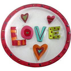 "11"" Glass Fusion Love Plate"