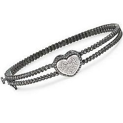 Diamond Cabled Heart-Shaped Bangle Bracelet