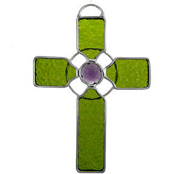 Celtic Cross Art Glass Suncatcher