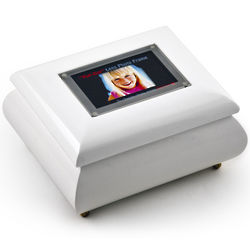 Wallet Size White Lacquer Photo Frame Music Box