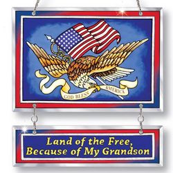 Land of the Free: Because of My Grandson Suncatcher