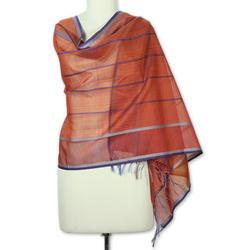 Maheshwari Coral Cotton and Silk Shawl
