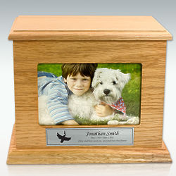 Personalized Medium Photo Oak Cremation Urn with Horizontal Photo
