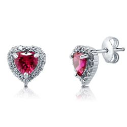 Sterling Silver Heart Shaped Simulated Ruby CZ Halo Stud Earrings