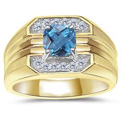 Blue Topaz and Diamond Men's Gold Ring