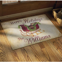 Personalized Happy Holidays 24 x 36 Doormat