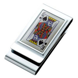 Personalized King of Spades Chrome Plated 2-Sided Money Clip