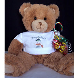 Personalized Snowman Christmas Teddy Bear