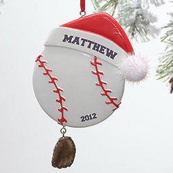 Santa Baseball Personalized Ornament