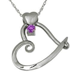 Sterling Silver Heart Slider February Birthstone Pendant