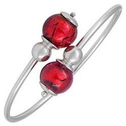 Venere Red Murano Glass Sterling Silver Bangle