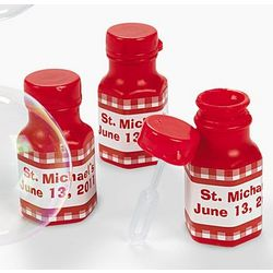 Personalized Red Gingham Bubble Bottles