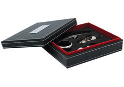 Personalized Wine Set in Black Leatherette Case