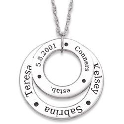 Sterling Silver Family Name Engraved Double Circle Necklace