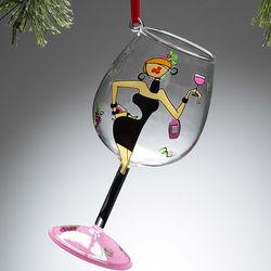 Diva Mini-Wine Glass Christmas Ornament