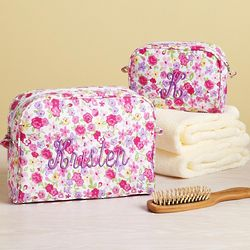 Personalized Pink Flower Cosmetics Bag