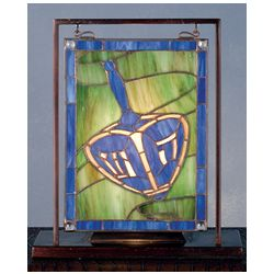 Chanukah Dreidel Stained Glass Lighted Window