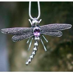 Enchanted Dragonfly Amethyst Pendant Necklace